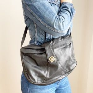 Vintage Black Leather Crossbody Shoulder Bag
